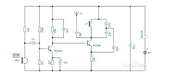 频率:88MHz到108MHz距离范围:20到30米3V供电。   该电路(见图)采用电容反馈振荡器,其频率稳定、可调。它的反馈信号是以电容分压的形式,将振荡管的输出信号反馈到输入端。其中Re为直流负反馈电阻,C3为隔直耦合电容,Ce为发射极旁路电容。L、C1、C2、C组成谐振回路。由于C2相当于接在晶体管BG的基极与发射极之间,又构成了由C1、C2分压的反馈式电路,反馈信号取自C2上的电压。该电路的振荡频率为f=1/2,其中C=C1C2/C1+C2。    制作点评   该调频话筒简单易作,比较适合