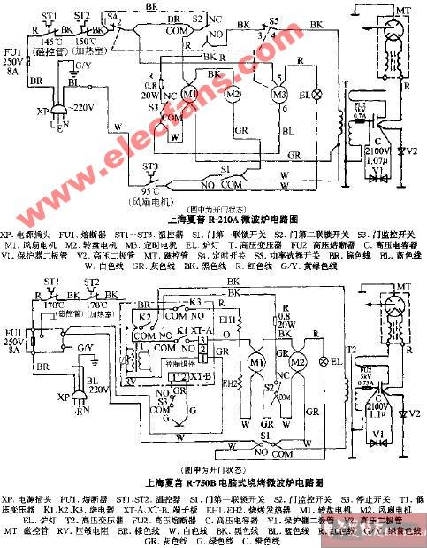 上海夏普r-210a微波炉电路图