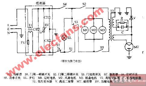 虹云mx1350机械式微波炉电路图