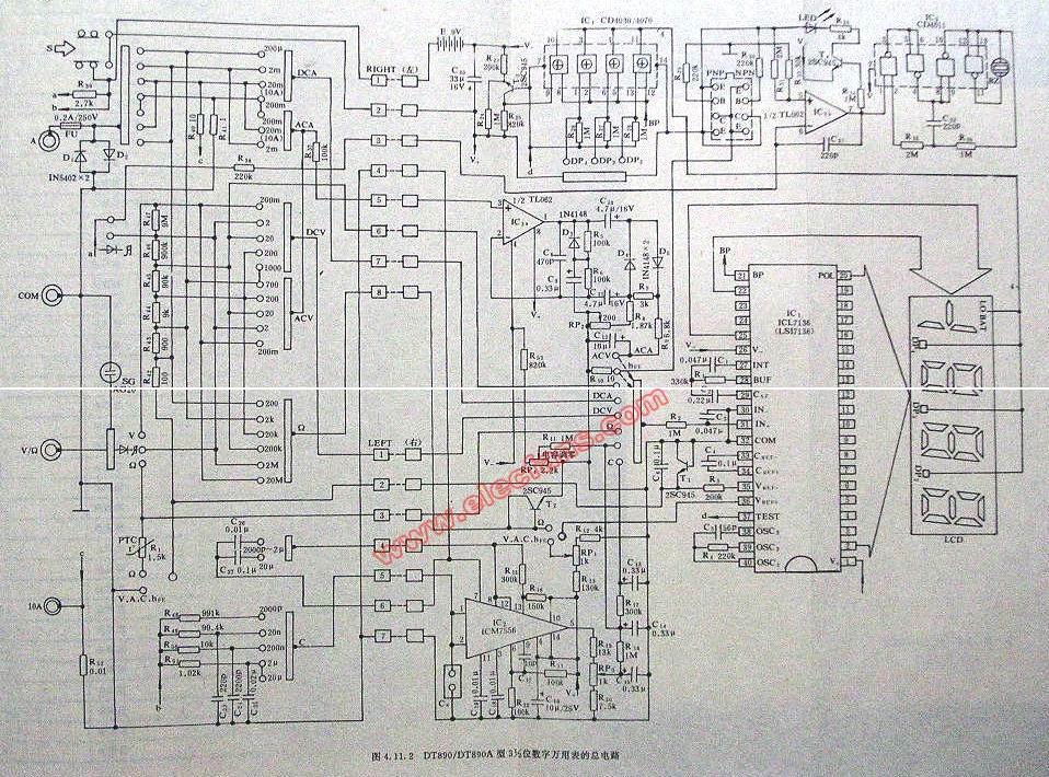 dt890a型数字万用表电路图