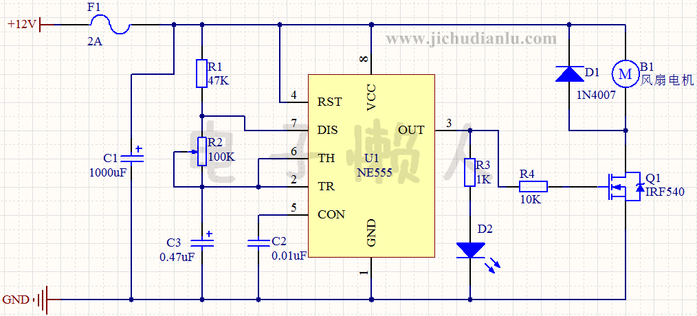 12v风扇转速控制电路的效果图演示_基础硬件电路图讲解