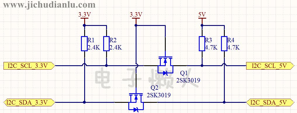 i2c总线3.3v与5v双向电平转换电路的效果图演示_基础